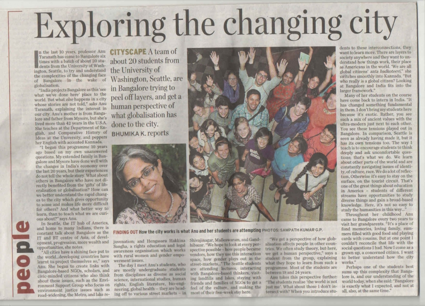 CHID's Bangalore, India study abroad group in The Hindu newspaper