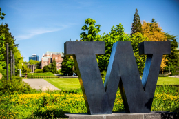 W statue on campus, taken on sunny May day
