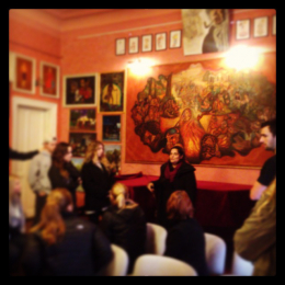CHID students meet with Roma art historian Timea Junghaus in Budapest
