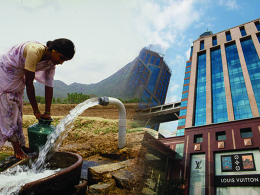 Woman collecting water fading into modern shops and skyscrapers