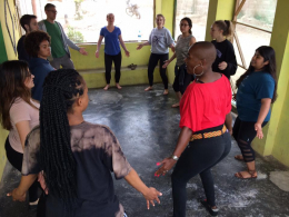 CHID Peru students in a dance class with Theater of the Millennium