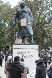 "Statue of Winston Churchill with graffiti ""was a racist"""