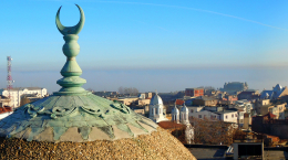 The dome of a mosque overlooking the city of Constanta, Romania