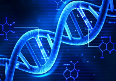 Digital image of blue DNA strand, double helix.
