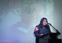 Cynthia Anderson speaking at Tasveer's 2019 Storywallahs event