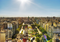 A bird's-eye-view of Buenos Aires depicting the different geographies of the city