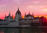 image of Hungarian parliament building at dusk