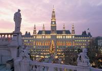 Vienna's Rathaus building at dusk